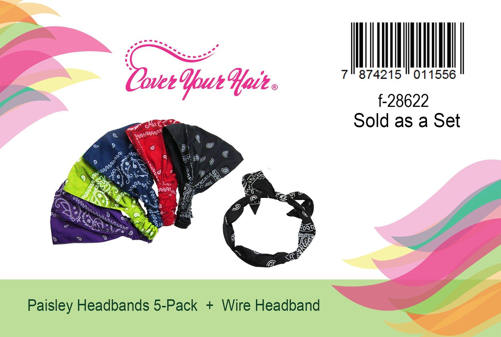 5 Pack Paisley Bandana Headbands and 1 Wire Bandana Hairband by CoverYourHair