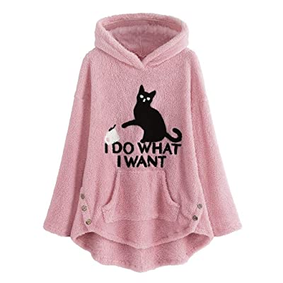 Sttech1 2020 Womens Winter Lapel Cat Printed Hooded Sweatshirt Faux Shearling Shaggy Warm Asymmetric Hem Wrap Pullovers: Clothing