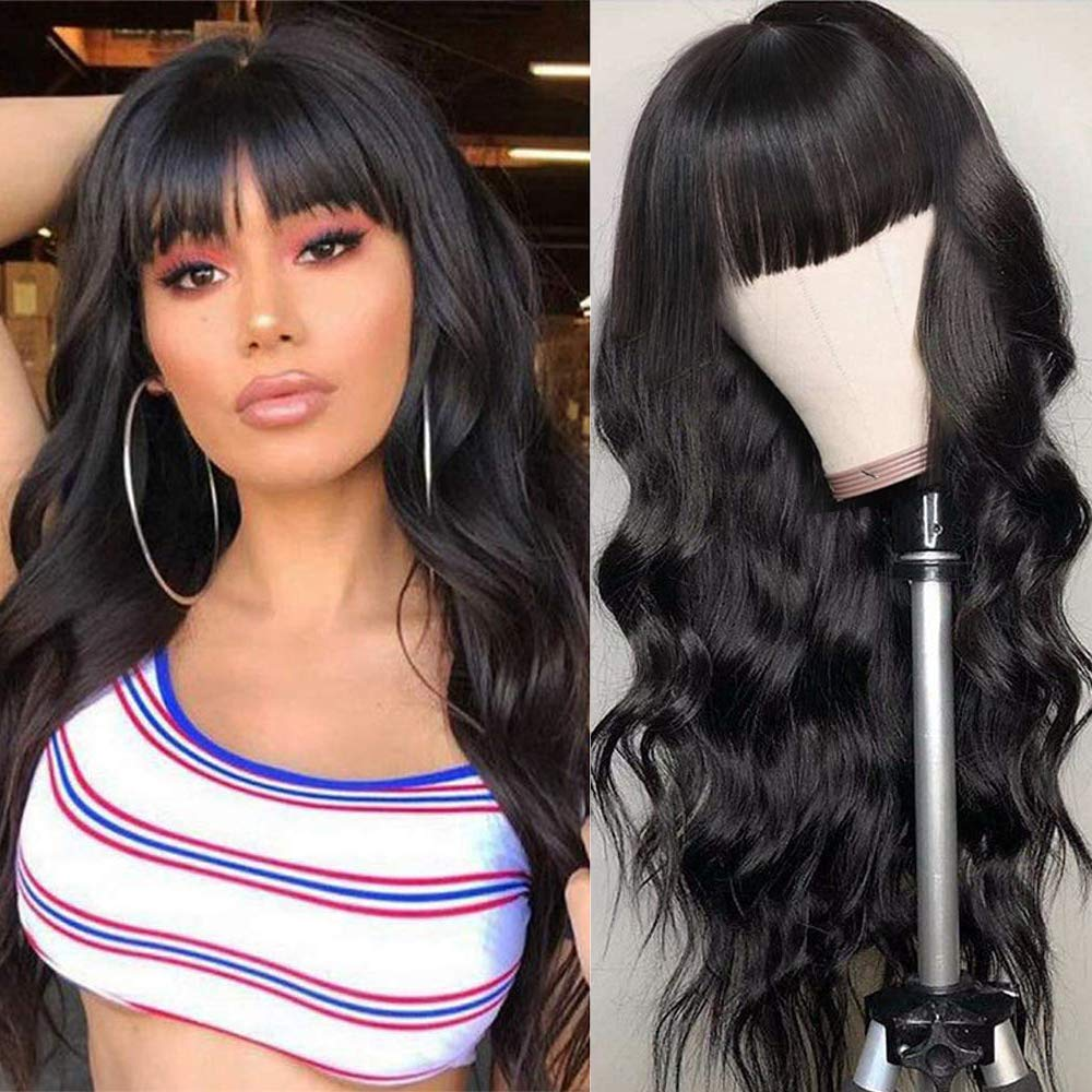 Amazon Com Liwihas Silky Brazilian Virgin Body Wave Human Hair Wigs With Bangs 130 Density None Lace Front Wigs Glueless Machine Made Wigs For Black Women Natural Color 16inch Body Wave Wigs