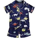 Shan-S Toddler Baby Boys Girls Dinosaur Satin Silk Pajamas Sleepwear T Shirt Shorts Clothes Set 2Pcs Loungewear…