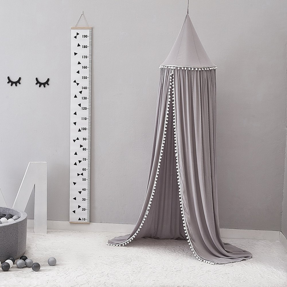 LOAOL Kids Bed Canopy with Pom Pom Hanging Mosquito Net for Baby Crib Nook Castle Game Tent Nursery Play Room Decor (Gray) by LOAOL (Image #2)
