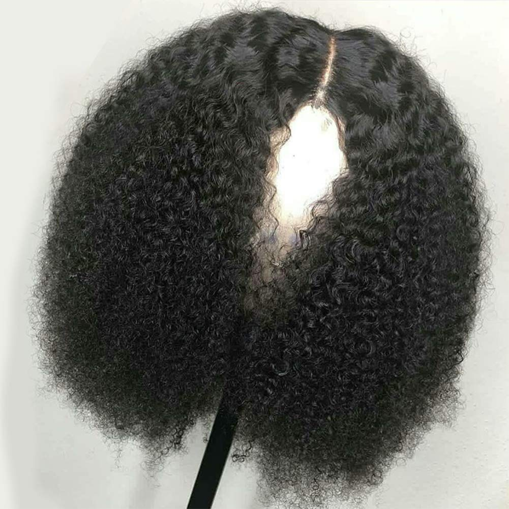 Mongolian Afro Kinky Curly 360 Lace Frontal Wig Pre Plucked With Baby Hair 4B 4C Curly 360 Full Lace Frontal Human Hair Wig For Women 150 Density Natural Black Color 16''inch by Beauty Youth (Image #3)
