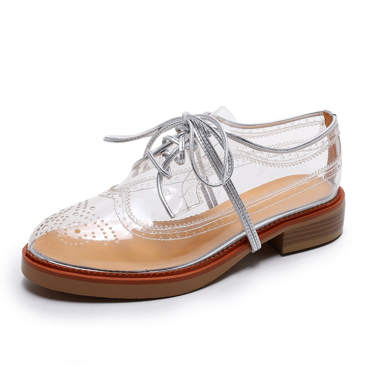 Bruno Bianci Women's Vegan Oxford Brogue Transparent Clear Shoes Perfect For Colourful Happy Socks (US 10)