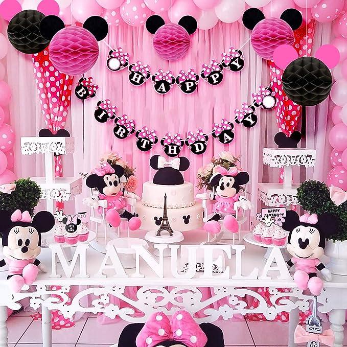 Decoraciones de cumpleaños de Minnie Mouse para niñas con remolinos rosados, bolas de nido de abeja de Minnie Ears, pancarta de feliz cumpleaños y ...