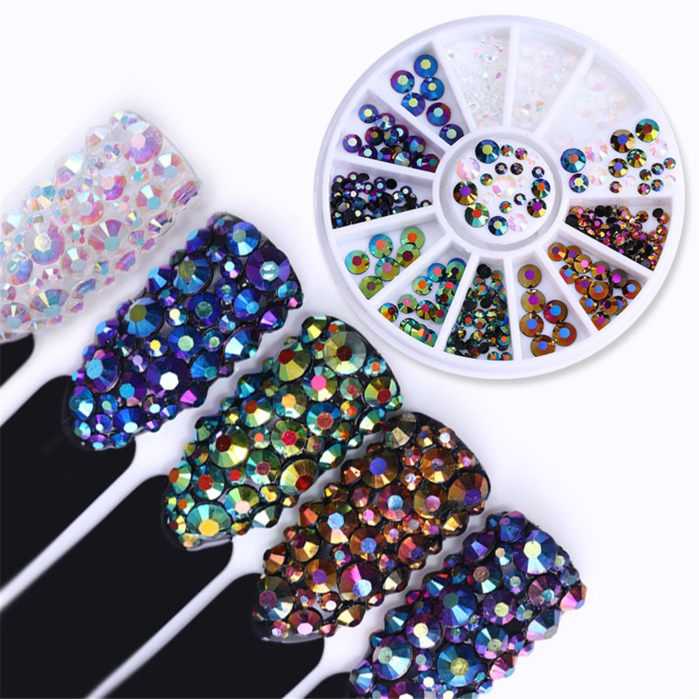 BORN PRETTY 6 Boxes Chameleon Multi-size Rhinestone Colorful Round Flat Bottom Manicure Nail Art Decoration