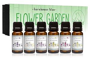 Premium Grade Fragrance Oils - Flower Garden - Gift Set - 6/10ml Bottles - Violet, Rose, Plumeria, Gardenia, Jasmine, Lilac & Lillies