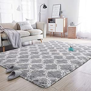 Noahas Soft Area Rugs for Bedroom Living Room Shaggy Patterned Fluffy Carpets for Nursery Baby Rooms Silky Smooth Fuzzy Kids Play Mats Christmas Thanksgiving Holiday Decor Rug, 5ft x 8ft, Light Grey