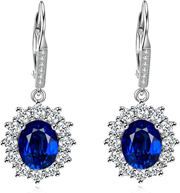 Superior Green Emerald And Blue Sapphire Diamond Cut Work Vintage Earrings In 925 Sterling Silver For Wedding And Engagement