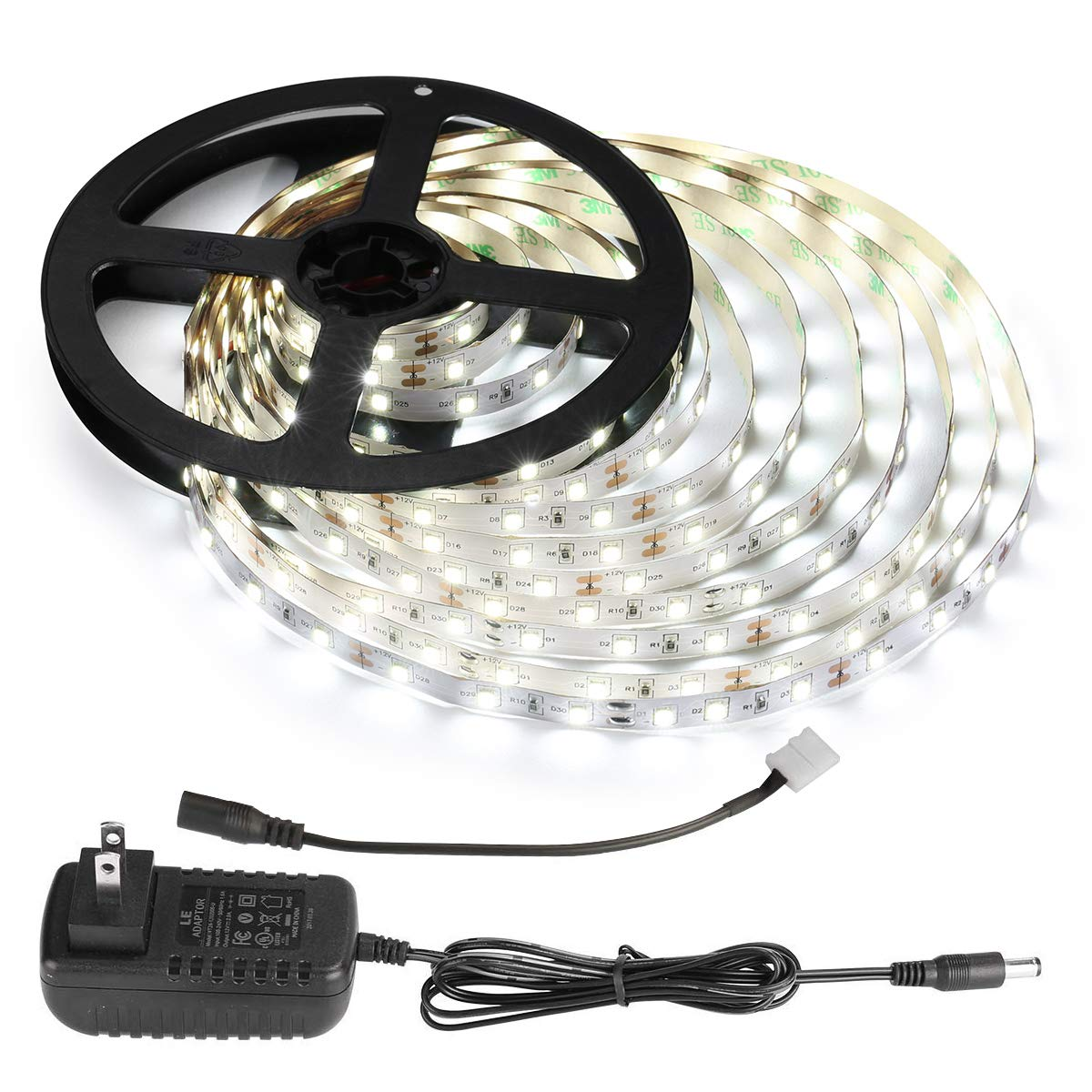 LE 12V LED Light Strip Kit, Flexible, 300 LEDs SMD 2835, 16.4ft Tape Light Kit for Home, Kitchen, Party, Under Cabinet and More, Power Adapter Included, Daylight White