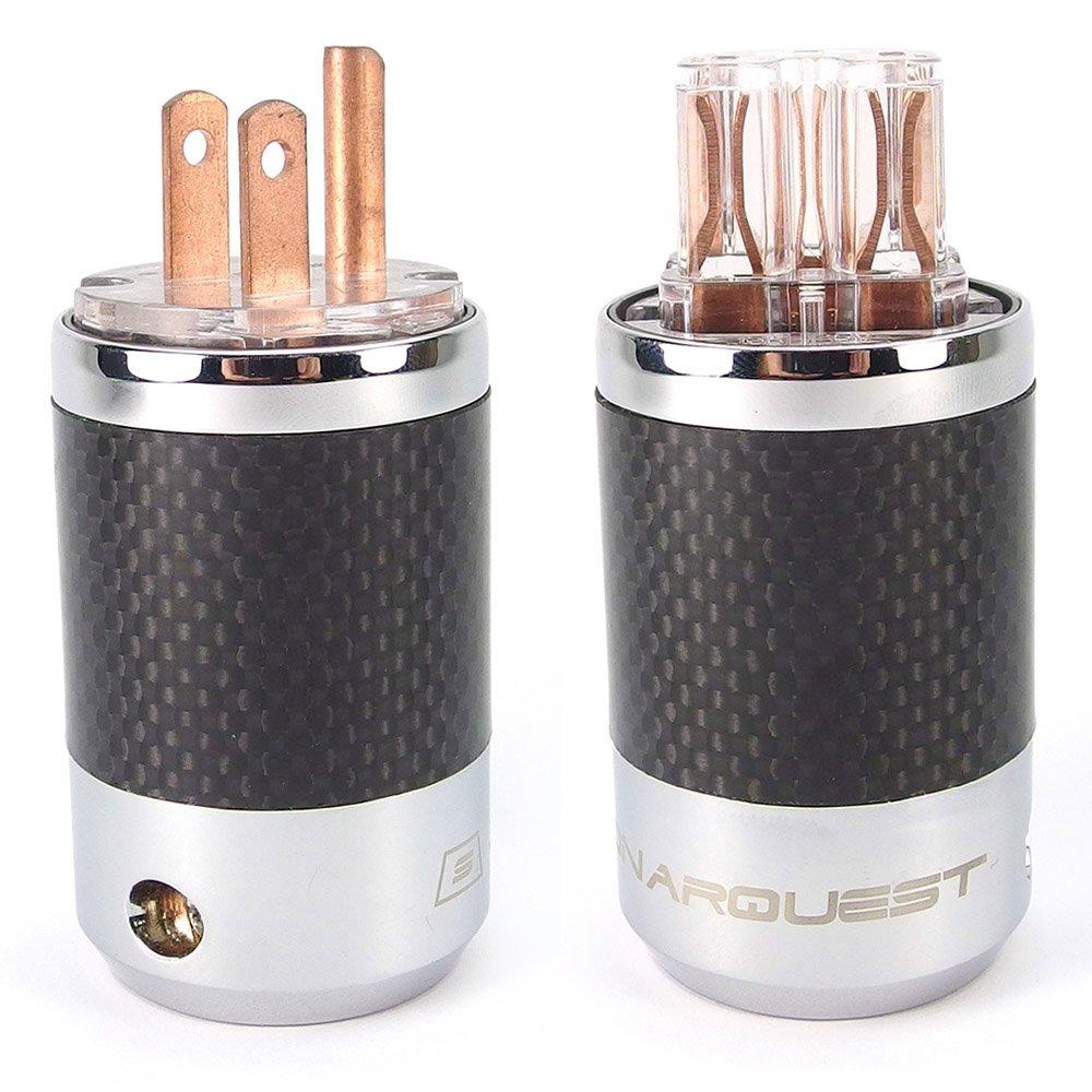 SonarQuest Carbon Fiber Series Red Copper US NEMA Power plug Connector SQ-P39(C)T & SQ-C39(C)T