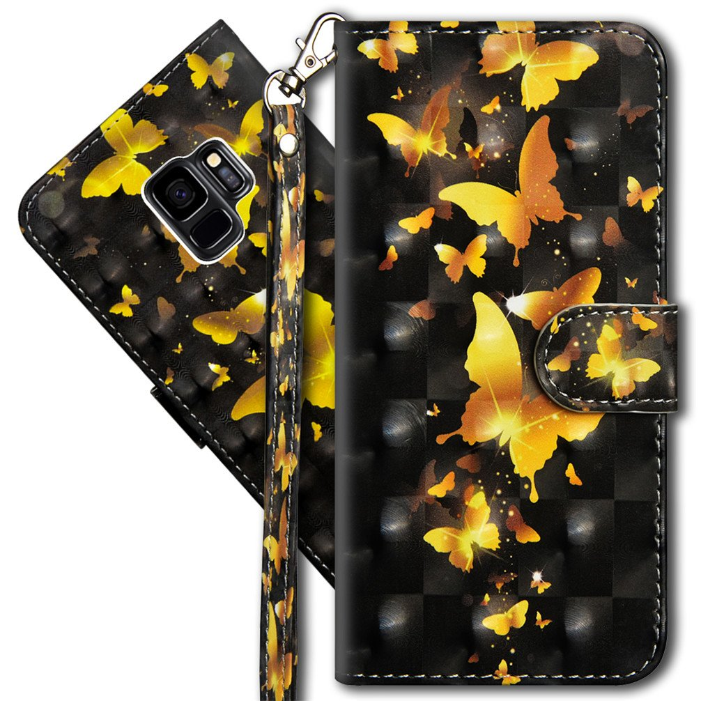 Galaxy S9 Plus Wallet Case, S9+ Premium PU Leather Case, COTDINFORCA 3D Creative Painted Effect Design Full-Body Protective Cover for Samsung Galaxy S9+/S9 Plus (2018). PU- Peacock Flower