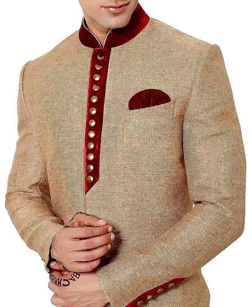 INMONARCH Mens Beige Sherwani Indo Western Red Patch kurta for jeans IN475