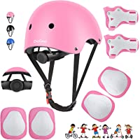 DaCool Kids Bike Helmet Set Skateboard Knee Pads - Kids Helmet Elbow Pads Wrist Guards Adjustable for 3~8yrs Girl Boy…