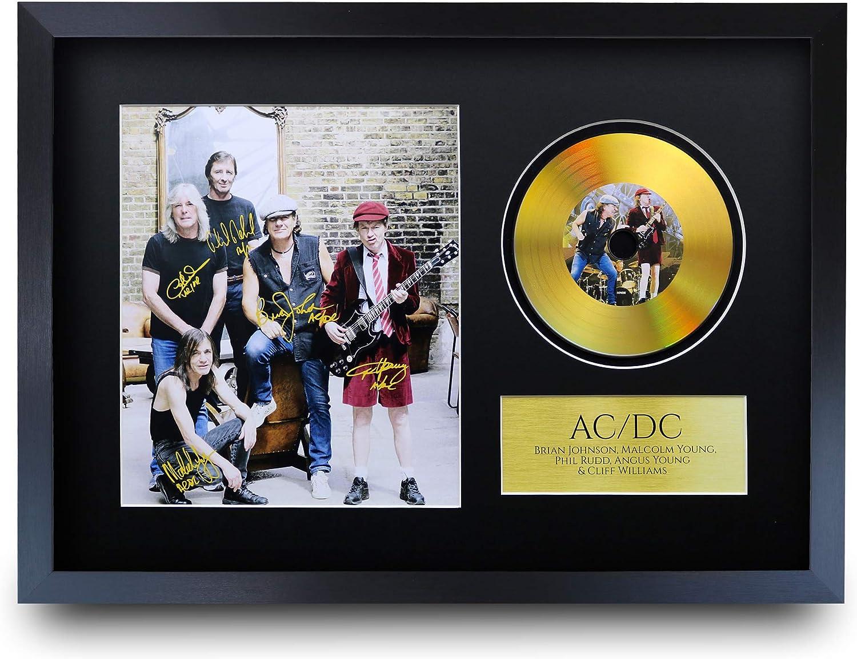 HWC Trading Impression autographe avec Disque dor/é Format A3 FR ACDC Malcolm Angus Young Brian Johnson Gifts Photo avec autographe sur Disque dor/é