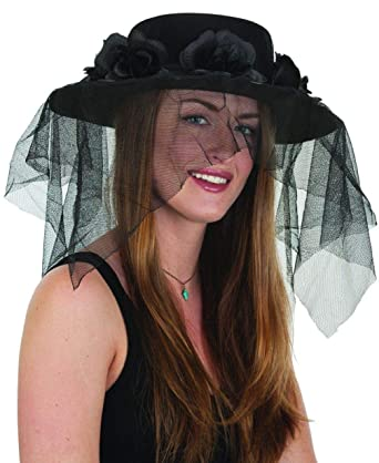 Amazon.com  Spanish Funeral Mourning Black Flower Band Black Hat and ... 9485d6f41ce