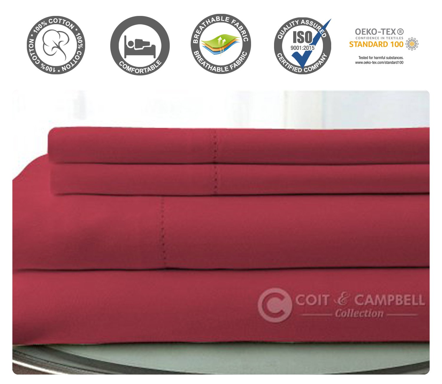 Coit & Campbell Premium Hotel Collection OEKO-TEX Certified Solid 500 Thread Count Deep Pocket 100% Cotton Sateen Sheet Set, Queen Burgundy