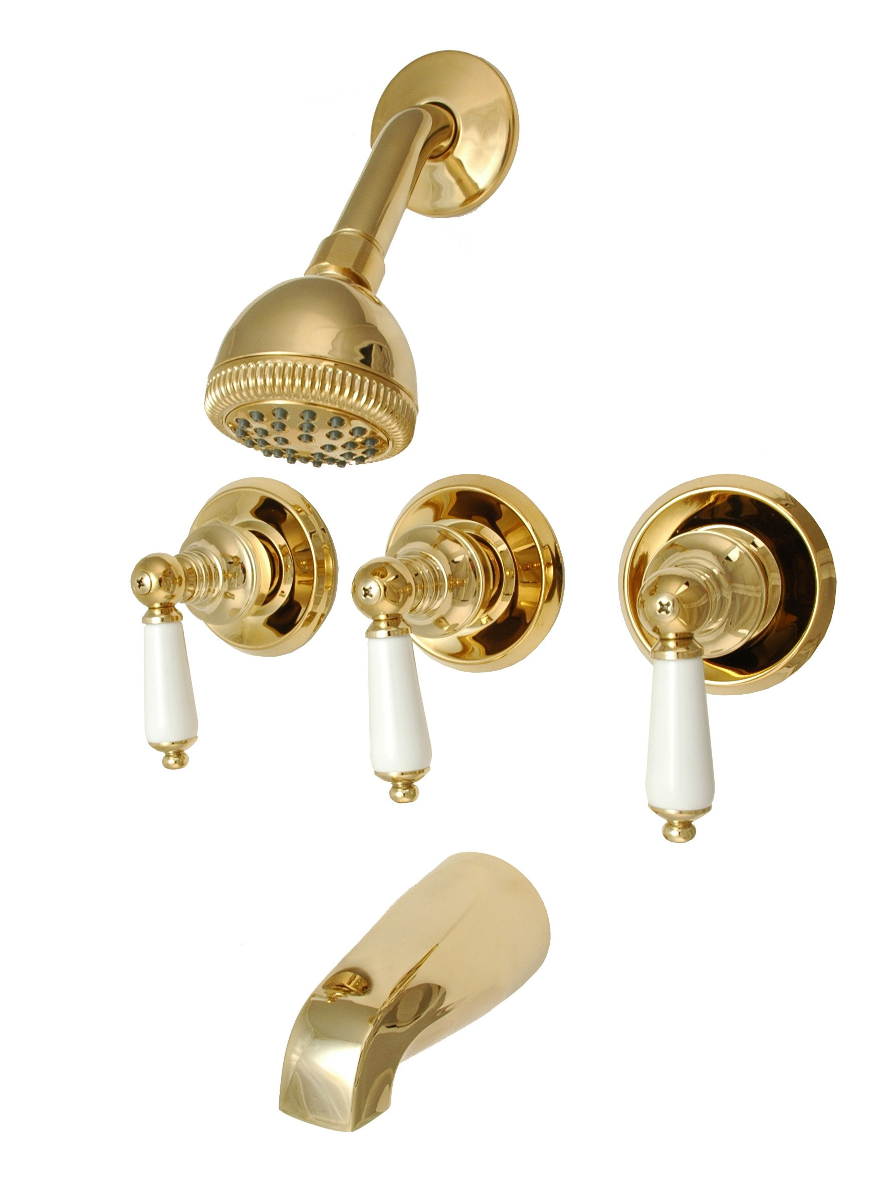 8'' Three-handle Tub and Shower Faucets, Polish Brass Finish, Washerless, Porcelain Handle - Plumb USA 34584pvd (Polish Brass)