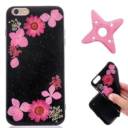 Maooy Crystal Chiaro Shell Skin Per Iphone 6 Sfondo Nero Fiori Vero