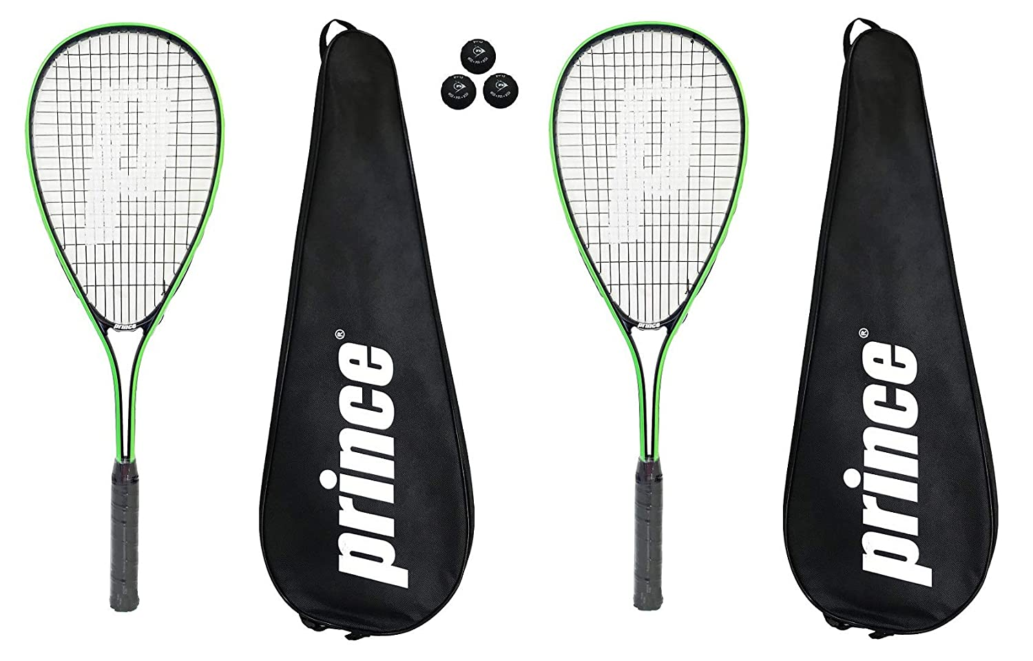 Prince 2 x Power PL150 Squash Rackets + 3 Squash Balls and Covers Dunlop