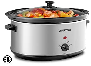 Gourmia PC710 Slow Cooker - Oval - Auto Mode - Cool Touch Handles - 7 Qt - 320W - Stainless Steel