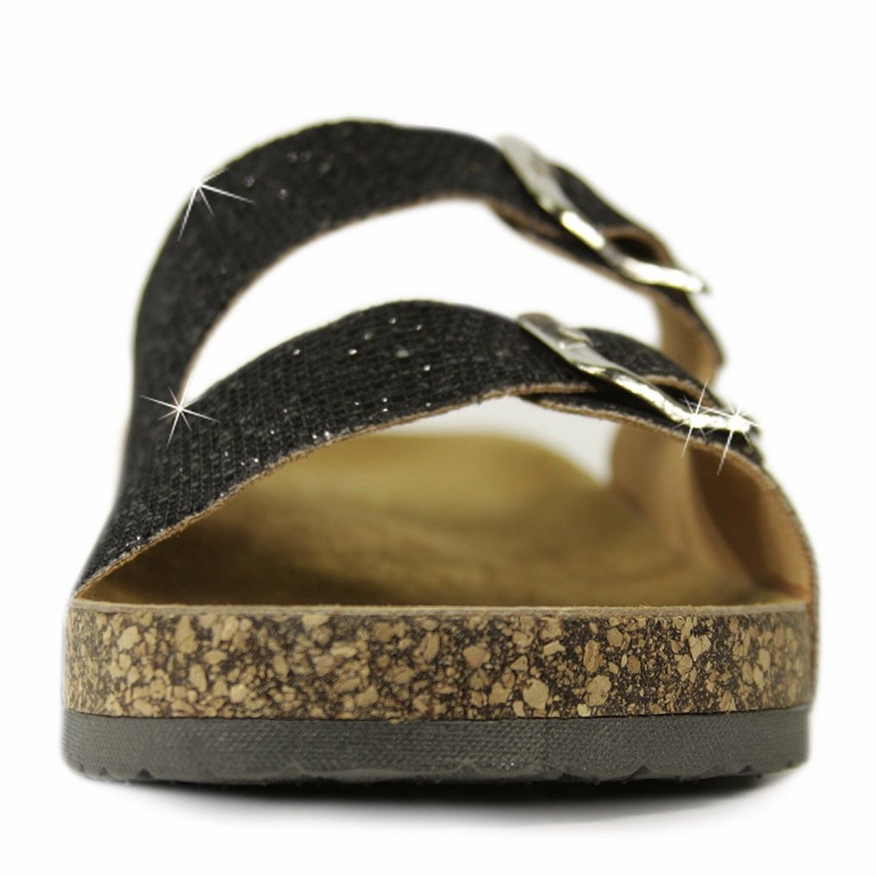 H2K Karen' Women's Casual Style Fashion Soft [Genuine Leather Foodbed] Slide Sandals Shoes Two Adjustable Straps (10, Glitter Black)