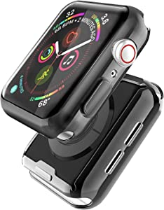 [2 Pack] Misxi Black Case Compatible with Apple Watch SE/Series 6 / Series 5 / Series 4 Screen Protector 40mm, 2020 New iwatch Cover TPU Overall Protective Case (1 Black +1 Transparent)