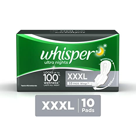 Whisper Ultra Nights Sanitary Pads - XXXL Wings (10 Piece of Pack)