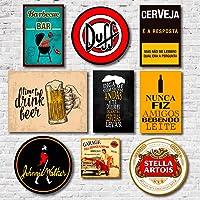 Kit Placas Decorativas Bebidas Frases Mdf - 9 Placas