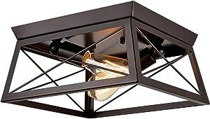 DANXU Lighting Industrial Flush Mount Ceiling Light Fixture Oil Rubbed Bronze 2 Light