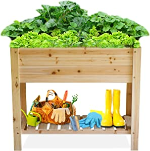 Raised Garden Bed Wood Planter Box Outdoor Wooden Elevated Planters Raised Beds with Legs for Vegetable Flower Herb, Above Ground Gardening Box with Protective Liner for Backyard Patio, Deck, Balcony