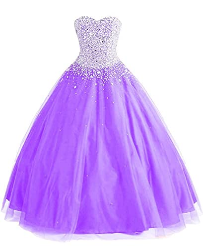 Meilishuo Women's Sweetheart Sparkly Beading Quinceanera Dresses Long 2017 Prom Party Ball Gown with...