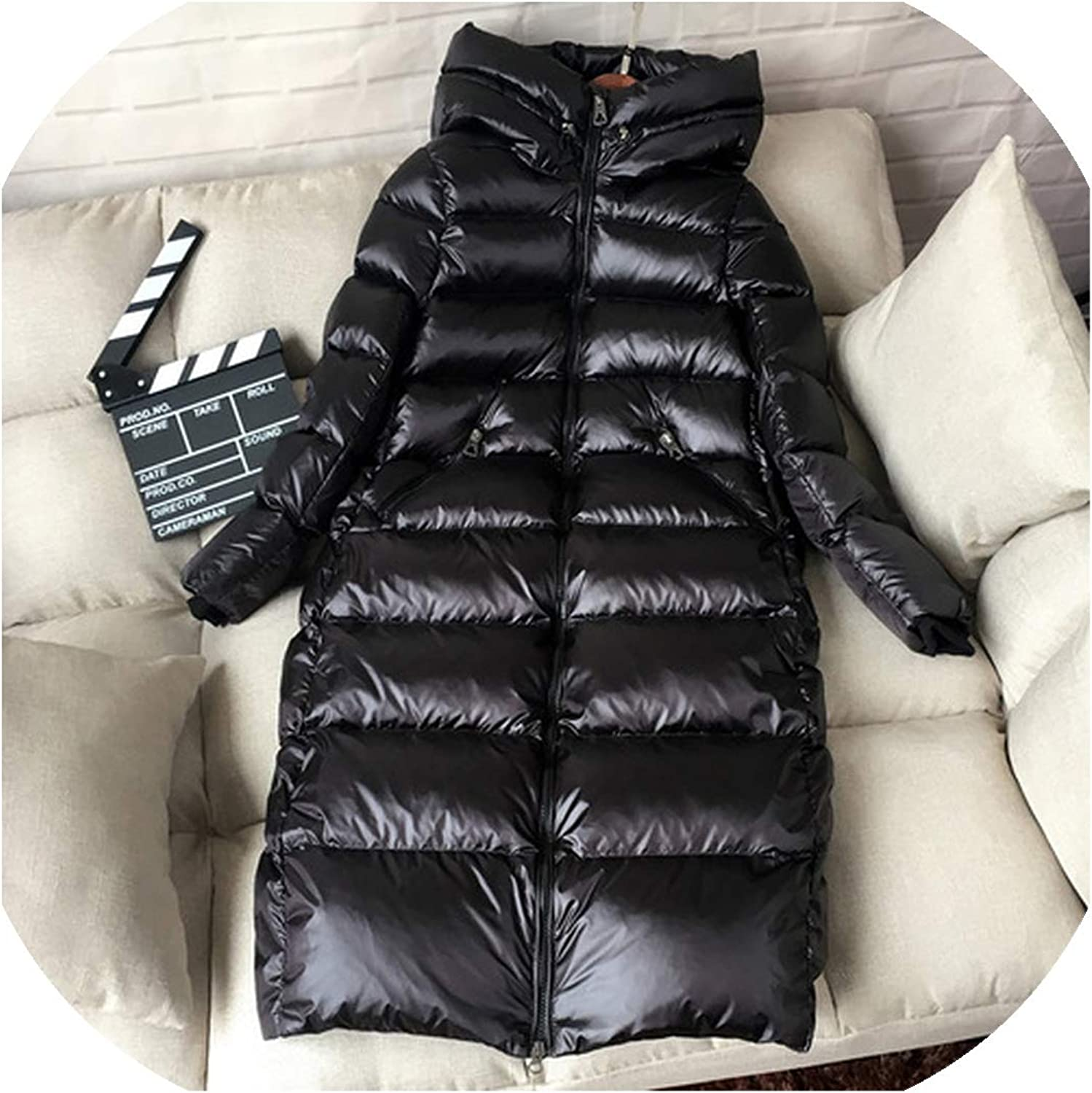 Black S Simple Womens Down Jacket Hooded Fashion White Duck Down Long Section Warm Jacket