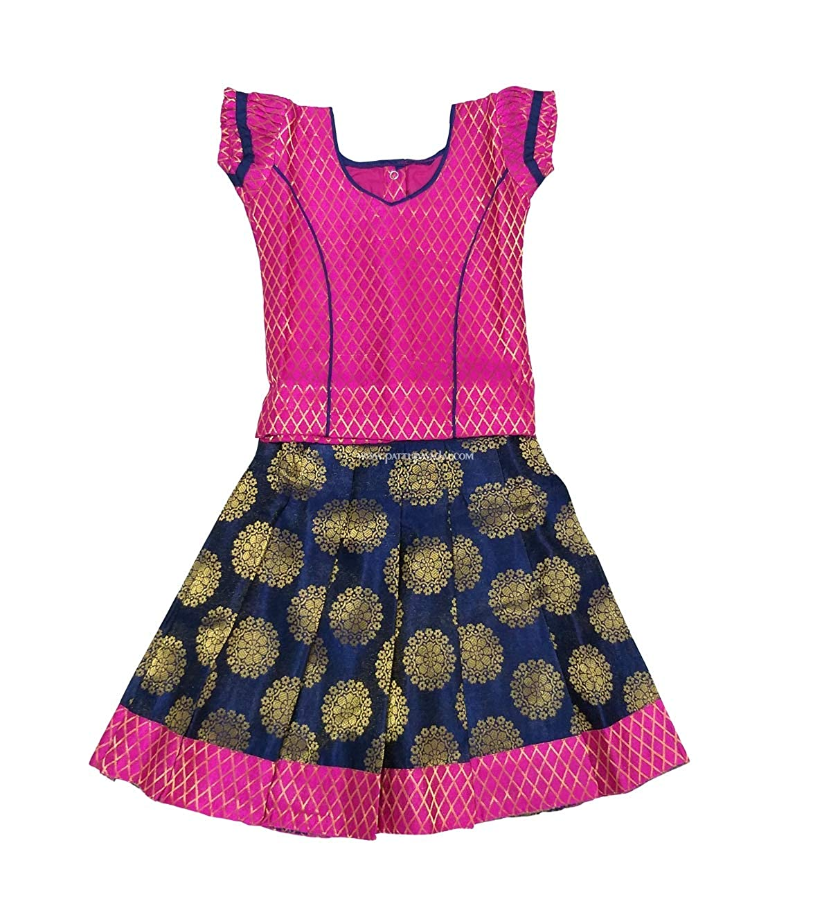 d1c4d2c433f5 Pattu Pavadai Banarasi Pavadai Sattai Navy Blue and Pink for Baby Girls and  Kids – 6 Months: Amazon.in: Clothing & Accessories