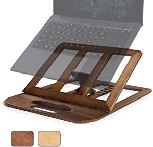 RAVEGO Laptop Stand, Foldable Wooden Laptop Riser Adjustable Computer MacBook Stand for Desk Portable Universal Notebook Laptop Holder with Multiple Angles for Laptops Up to 15.6 inches (Walnut)