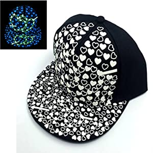 2017 Valentine's Day New Luminous heart shape Cap Glow In The Dark Snapback Baseball Hat,Green light and Blue Light
