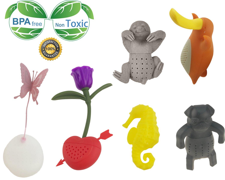 Creative Cute Animal Eco-friendly Silicone Tea Infuser Strainer Set Of 6 PCS Butterfly Rose Seahorse Bradypod Brady-pod Platypus Pug Tea Steeper Tea Lover's Gift