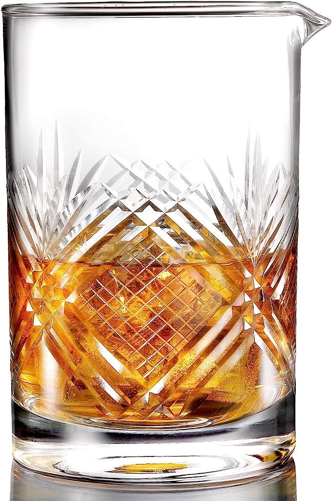 Cocktail Mixing Glass Stemmed Plain Design Seamless Handblown Crystal Glass 30oz