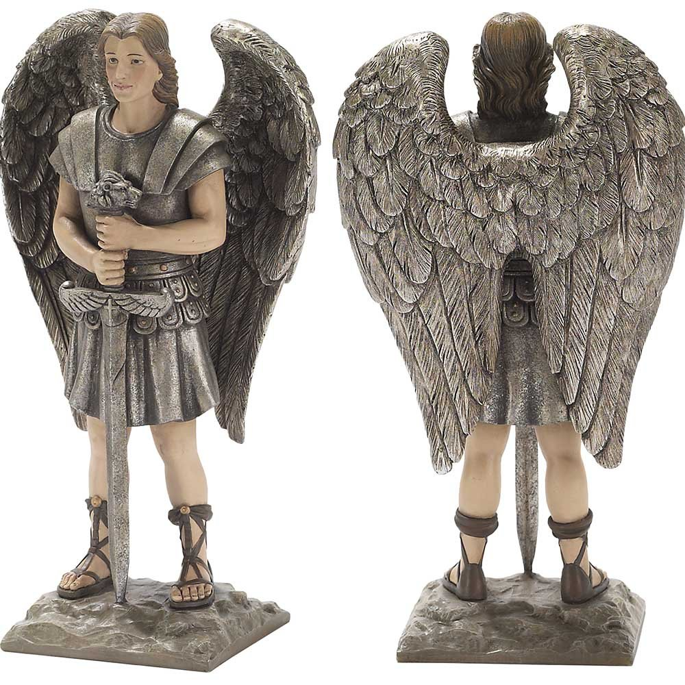 Dicksons Archangel Michael 8 x 6 inch Silver Tone Resin Stone Table Top Figurine