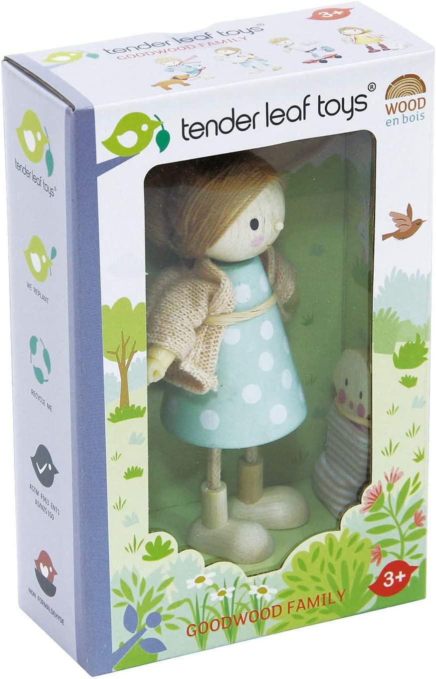 Amy and Her Rabbit The Goodwood Family Tender Leaf Toys Wooden Action Figure Dollhouse Miniatures Dolls Encourage Creative and Imaginative Fun Play for Children 3+