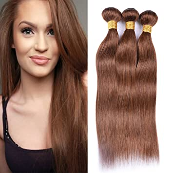 Nice XCCOCO Hair 4# Hair Weave Medium Brown Hair Bundles Deal Brazilian Pure  Color Silk Remy