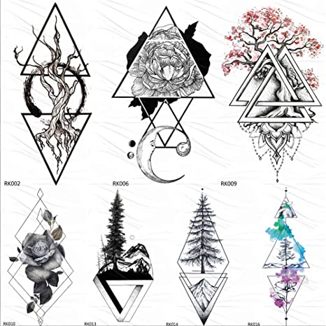 Black Realistic Geometric Rose Flower Triangle Temporary