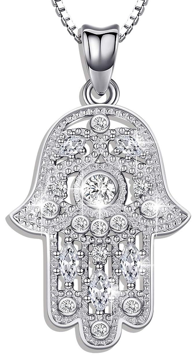 Collar Hamsa de plata de ley 925 para mujer, colgante de mano de Fátima con circonita cúbica, joyería de protección, regalo – Viene en caja delicada