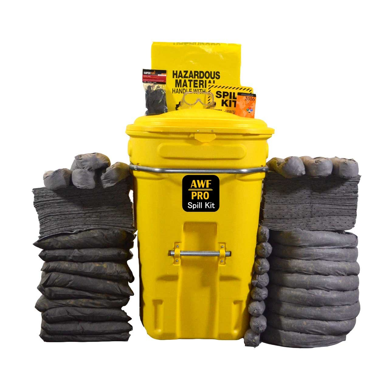 95 Gallon Universal Spill Kit, Pro Grade, 190 Pc.: Wheeled Cart, 150 Heavy Duty Pads 15x19, 8 Socks 3x12, 8 Socks 3''x4', 9 Pillows 18x18, Chemical Gloves, Hazmat Bags, Goggles, Guide Book, Sign