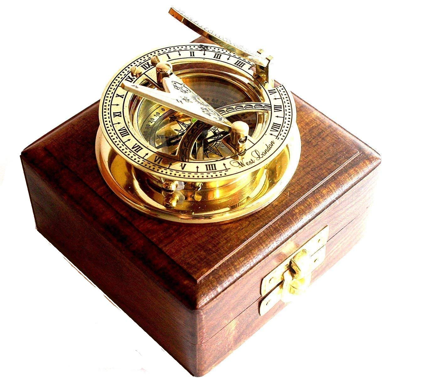 Fashion Style Antique Nautical Solid Brass Sundial Compass West London Navigational Working Maritime Compasses
