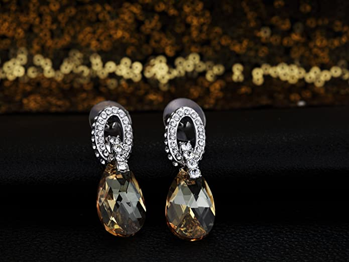 Swarovski Elements Golden Shadow Complimento Earrings Rhodium Plated - Ideal Gift for Women and Girls - Comes In Gift Box pyhsfMMkq