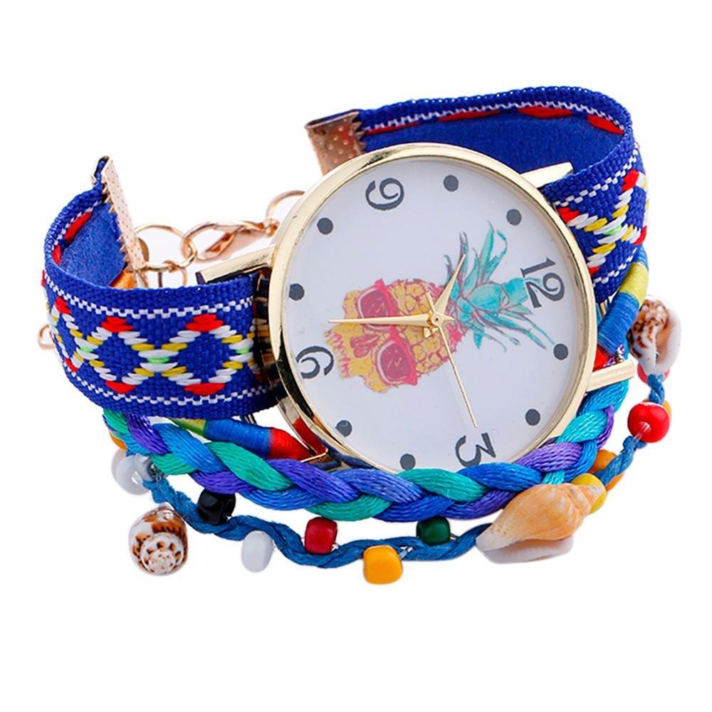 Swyssレディースドレス時計ハンドメイドヴィンテージ編みビーズブレスレットパイナップルパターンクォーツ腕時計シックチャームアクセサリー  ブルー B07CJSZ7XC