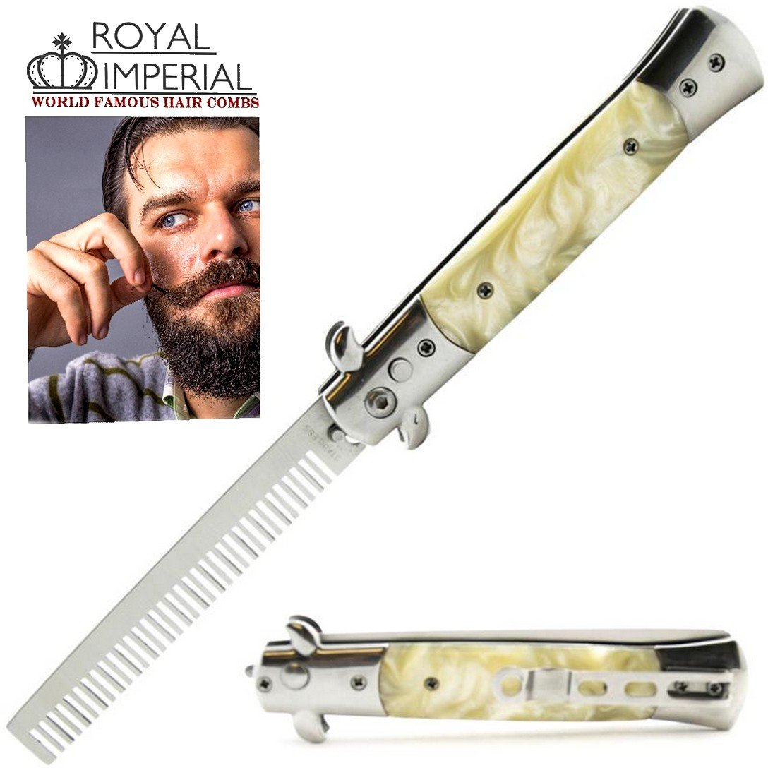 Royal Imperial High Quality Metal Switchblade Pocket Folding Flick Hair Comb For Beard or Mustache White Pearl Handle INCLUDES Beard Fact Wallet Booklet.
