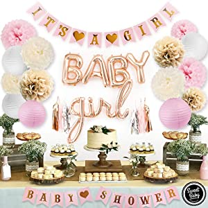 Sweet Baby Co. Pink Baby Shower Decorations For Girl With It's A Girl Banner, Baby Girl Foil Letter Balloons, Flower Pom Poms, Paper Lanterns, Tassels (Rose Gold, Pink, Ivory, Khaki, White) | Baby Shower Decorations Set