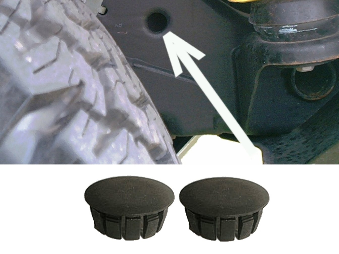 Hummer H2 Front Frame Hole Cover Plugs Keep Out Mud and Debris