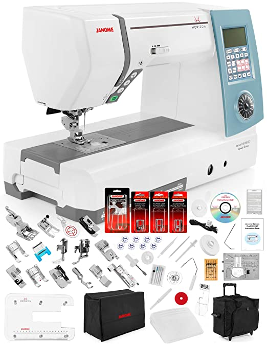 Janome Memory Craft Horizon 8900 QCP Special Edition Computerized Sewing Machine w/Extension Table + Trolley + Semi-Hard Cover + Cloth Guide + Much ...